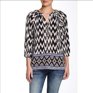 Lucky Brand Black & White Printed Henley Top XS
